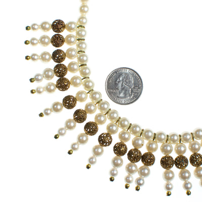 Vintage 1940s Pearl and Gold Filigree Bib Statement Necklace