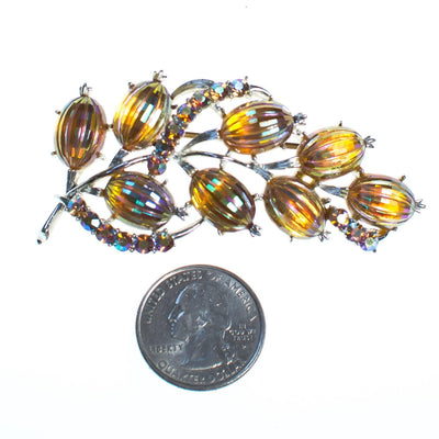 Vintage 1950s Coro Pressed Gold Iridescent Glass Brooch