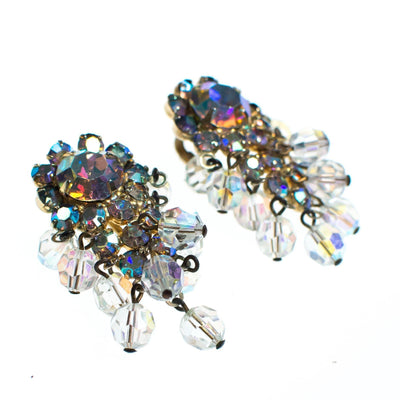 Vintage Juliana Aurora Borealis Crystal Beaded Statement Earrings, Clip On