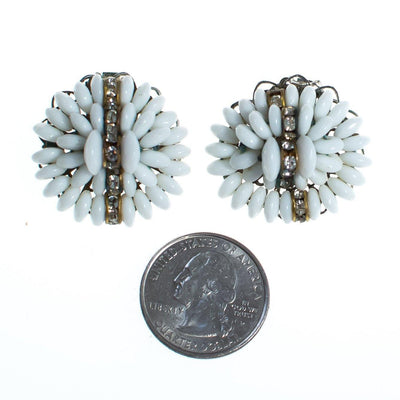 Vintage White Milk Glass Cluster Beaded and Rhinestone Rondelle Earrings, Clip On