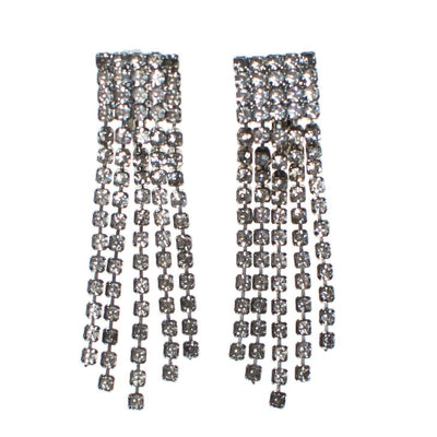 Vintage Art Deco Style Diamante Rhinestone Fringe Statement Earrings, Clip On, 1950s, Old Hollywood Glamour