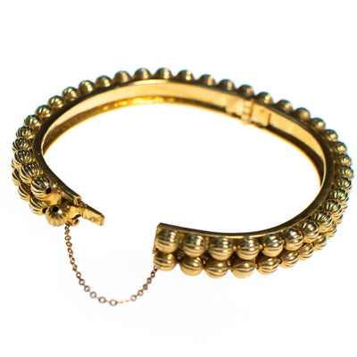 Vintage Gold Bead Hinged Bangle Bracelet