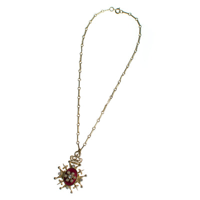 Vintage Coro Red Enamel and Rhinestone Heraldic Pendant Necklace