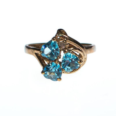 Vintage Ring, Blue Heart Shaped Rhinestones, CZ, Gold Tone Setting, Ring Size 8 by 1980s - Vintage Meet Modern - Chicago, Illinois