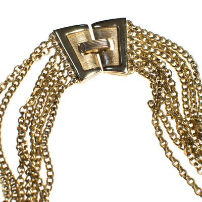 Vintage Crown Trifari Multi-strand Chain Necklace, Gold Tone, Snap Lock Clasp
