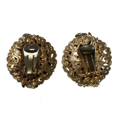 Vintage 1940s Gold Repousse Statement Earrings by 1940s - Vintage Meet Modern Vintage Jewelry - Chicago, Illinois - #oldhollywoodglamour #vintagemeetmodern #designervintage #jewelrybox #antiquejewelry #vintagejewelry