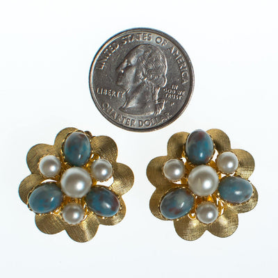 Vintage Speckled Blue and Pearl Gold Crimped Medallion Earrings by Mid Century Modern - Vintage Meet Modern - Chicago, Illinois