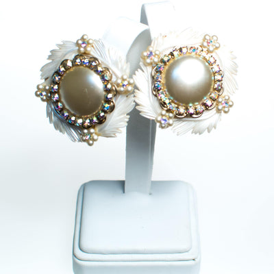 Vintage Statement Earrings, White Lucite Feathers, Faux Pearls, Aurora Borealis Rhinestones, Silver Tone Setting, Clip-on