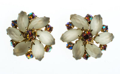 Vintage Champagne Frosted Crystal and Aurora Borealis Rhinestone Flower Statement Earrings, Clip On by 1960s - Vintage Meet Modern Vintage Jewelry - Chicago, Illinois - #oldhollywoodglamour #vintagemeetmodern #designervintage #jewelrybox #antiquejewelry #vintagejewelry