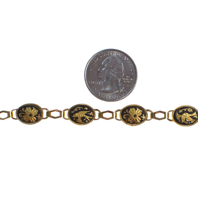 Vintage Spanish Damascene Bracelet Black with Gold Bird Design by Made in Spain - Vintage Meet Modern - Chicago, Illinois