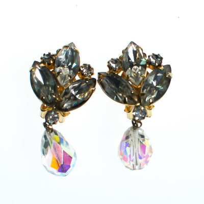 Vintage Juliana Dangling Aurora Borealis Rhinestone Statement Earrings, Clip On by Juliana - Vintage Meet Modern - Chicago, Illinois