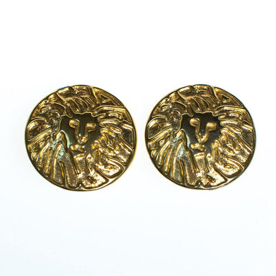 Vintage Anne Klein Couture Gold Lion Huge Round Statement Earrings by Anne Klein Couture - Vintage Meet Modern - Chicago, Illinois