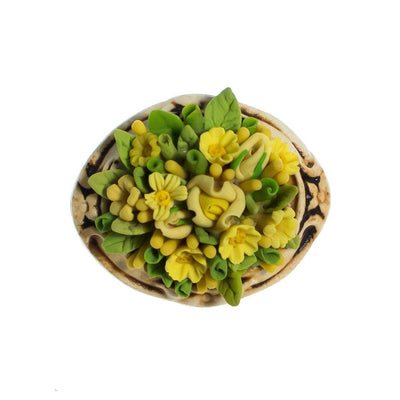 Vintage Flower Brooch, Yellow Flowers, Green Leaves, Beige Setting, Brooches and Pins by 1950s - Vintage Meet Modern - Chicago, Illinois
