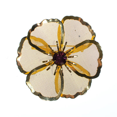 Vintage Mid Century Modern Large Gold Mesh Flower Brooch with Amethyst Crystal