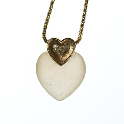 Vintage Swarovski Heart Necklace, Frosted Glass Heart, Diamante Crystals, Gold Tone Rope Necklace, Spring Ring Clasp