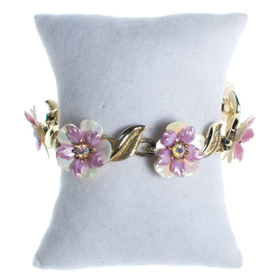 Vintage Coro Purple and White Flower Flower Bracelet