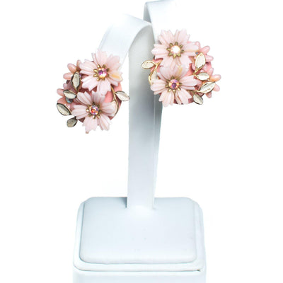 Vintage 1950s Coro Floral Lucite Earring, Pink Lucite Flowers, Aurora Borealis Rhinestones, Gold Tone Setting, Clip-on by 1950s - Vintage Meet Modern Vintage Jewelry - Chicago, Illinois - #oldhollywoodglamour #vintagemeetmodern #designervintage #jewelrybox #antiquejewelry #vintagejewelry