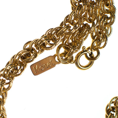 Vintage Monet Gold Bolero Necklace, Pendant, Gold Tone Setting, Spring Ring Clasp by Monet - Vintage Meet Modern - Chicago, Illinois