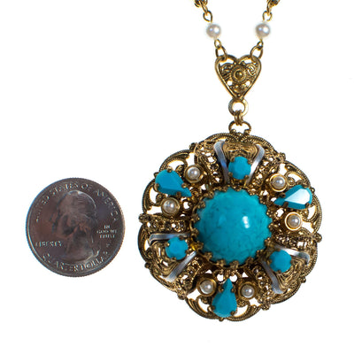 Vintage West Germany Gold Filigree and Turquoise Glass Pendant Necklace