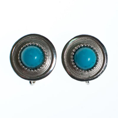 Vintage Crown Trifari Silver Earring Button Earrings with Turquoise Lucite Cabochon by Crown Trfari - Vintage Meet Modern - Chicago, Illinois