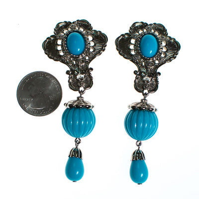 Vintage Jose Barrera for  Avon Turquoise and Silver Statement Earrings by Barrera for Avon - Vintage Meet Modern Vintage Jewelry - Chicago, Illinois - #oldhollywoodglamour #vintagemeetmodern #designervintage #jewelrybox #antiquejewelry #vintagejewelry