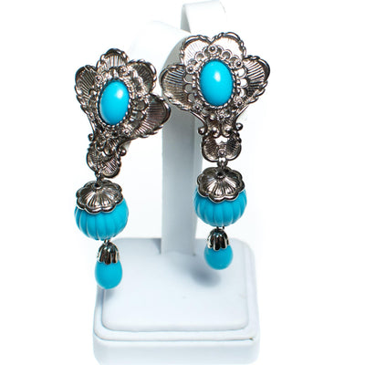 Vintage Jose Barrera for  Avon Turquoise and Silver Statement Earrings by Barrera for Avon - Vintage Meet Modern - Chicago, Illinois