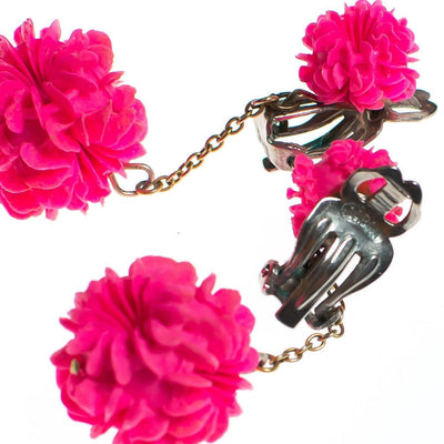 Vintage Hot Pink Flower Pom Pom Statement Earrings by Made in Japan - Vintage Meet Modern - Chicago, Illinois
