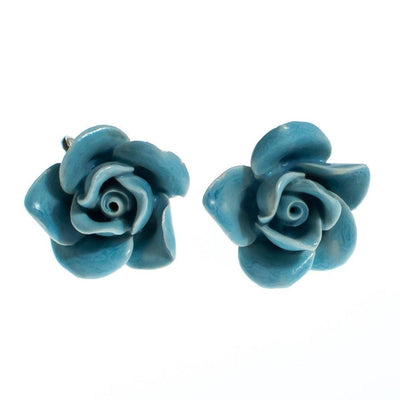 Vintage 1940s Porcelain Blue Rose Earrings, Screw Back by 1940s - Vintage Meet Modern - Chicago, Illinois