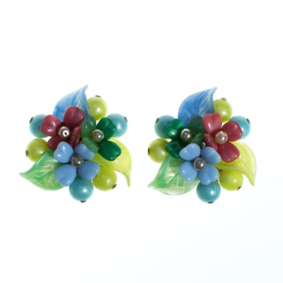 Vintage 1940s Pastel Pink Blue Yellow Green Glass Flower Earrings by 1940s - Vintage Meet Modern - Chicago, Illinois