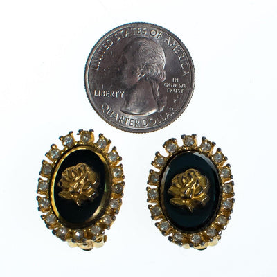 Vintage Celebrity NY Gold Rose and Black Cameo Style Earrings by Celebrity NY - Vintage Meet Modern Vintage Jewelry - Chicago, Illinois - #oldhollywoodglamour #vintagemeetmodern #designervintage #jewelrybox #antiquejewelry #vintagejewelry