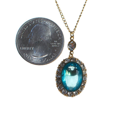 Vintage Oval Blue Crystal Pendant Necklace by 1950s - Vintage Meet Modern - Chicago, Illinois