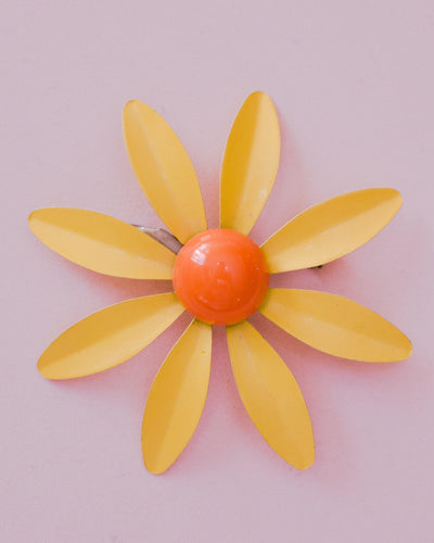 Vintage Retro Mod Flower Power Yellow and Orange Enamel Brooch by 1950s - Vintage Meet Modern - Chicago, Illinois