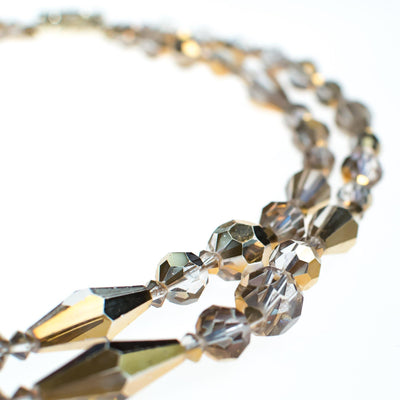 Vintage Champagne Gold Aurora Borealis Double Strand Faceted Crystal Necklace