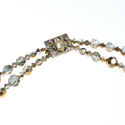 Vintage Champagne Gold Aurora Borealis Double Strand Faceted Crystal Necklace by 1950s - Vintage Meet Modern - Chicago, Illinois