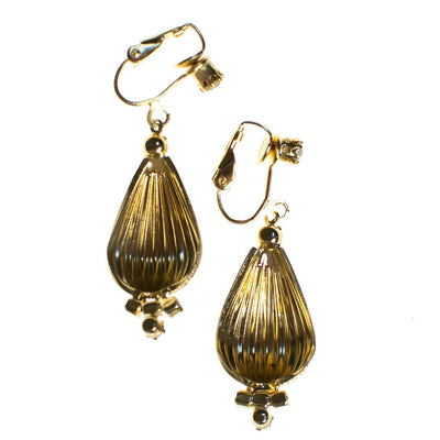 Vintage Fluted Gold Orb Dangling Drop Statement Earrings with Crystals