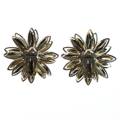 Vintage Black Daisy and Gold Daisy with Aurora Borealis Crystal Statement Earrings
