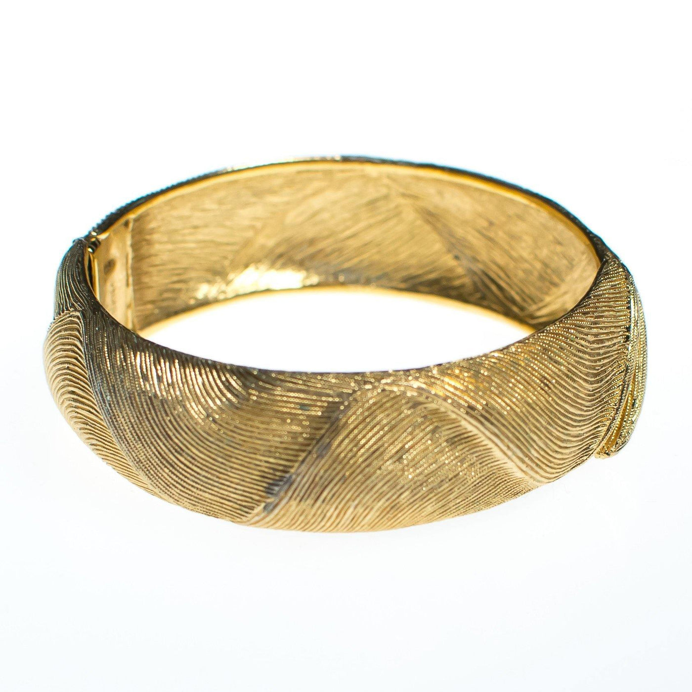 d1145770ad4ca Vintage Monet Brushed Textured Gold Bangle Bracelet - Vintage Meet ...