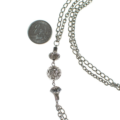 Vintage 1960s Silver Filigree Bead and Chain Necklace by 1960s - Vintage Meet Modern Vintage Jewelry - Chicago, Illinois - #oldhollywoodglamour #vintagemeetmodern #designervintage #jewelrybox #antiquejewelry #vintagejewelry