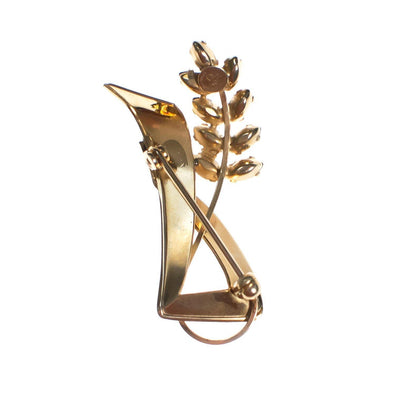Vintage 1940s Gold Filled Petite Floral Brooch with Smokey Topaz Leaves by 1940s - Vintage Meet Modern - Chicago, Illinois