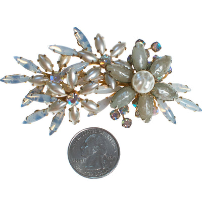 Vintage Judy Lee Faux Pearl and Aurora Borealis Rhinestone Brooch by Judy Lee - Vintage Meet Modern - Chicago, Illinois