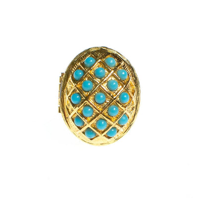 Vintage Turquoise Bead Gold Locket Statement Ring by 1960s - Vintage Meet Modern - Chicago, Illinois