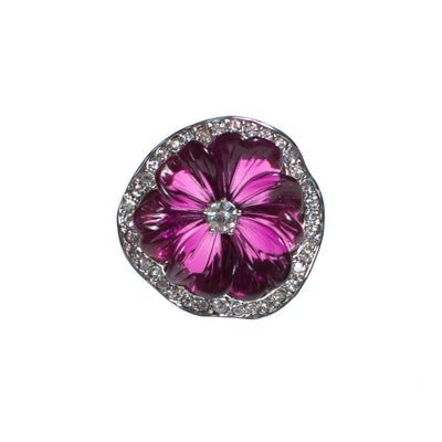Vintage Kenneth Jay Lane Sparkling Purple Pansy Statement Ring with Pave Crystals by Kenneth Jay Lane - Vintage Meet Modern Vintage Jewelry - Chicago, Illinois - #oldhollywoodglamour #vintagemeetmodern #designervintage #jewelrybox #antiquejewelry #vintagejewelry