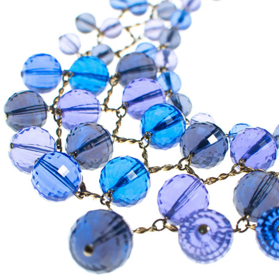 Vintage Faceted Blue Lucite Bubble Bead Bib Statement Necklace by 1960s - Vintage Meet Modern - Chicago, Illinois