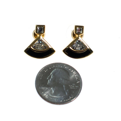 Vintage Christian Dior Petite Earrings with Black Enamel and Diamante Rhinestones by Christian Dior - Vintage Meet Modern - Chicago, Illinois