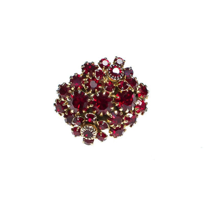Vintage Red Rhinestone Cluster Statement Ring by 1950s - Vintage Meet Modern - Chicago, Illinois