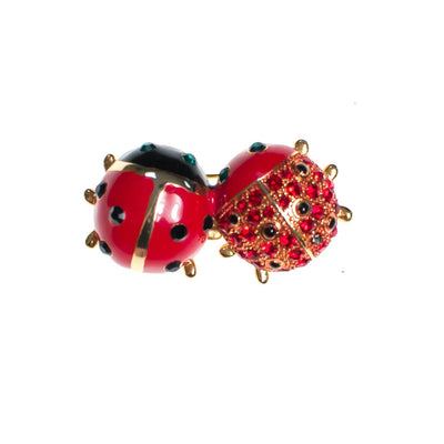 Vintage Ladybug Brooch, Black, Green and Red Rhinestones, Brooches and Pins by 1980s - Vintage Meet Modern Vintage Jewelry - Chicago, Illinois - #oldhollywoodglamour #vintagemeetmodern #designervintage #jewelrybox #antiquejewelry #vintagejewelry