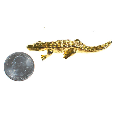 Vintage Gold Alligator Brooch by 1980s - Vintage Meet Modern Vintage Jewelry - Chicago, Illinois - #oldhollywoodglamour #vintagemeetmodern #designervintage #jewelrybox #antiquejewelry #vintagejewelry