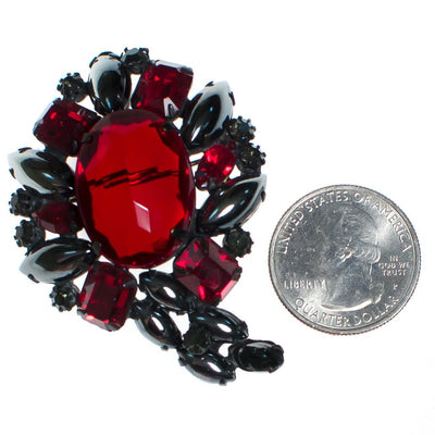 Vintage Weiss Hematite Jet and Red Crystal Rhinestone Brooch by Weiss - Vintage Meet Modern - Chicago, Illinois