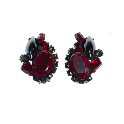Vintage Weiss Hematite, Jet, and Red Rhinestone Statement Earrings by Weiss - Vintage Meet Modern - Chicago, Illinois