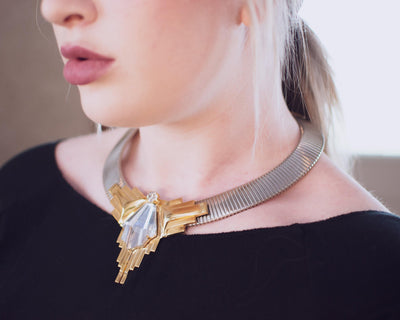 Vintage 1980s Art Deco Inspired Steampunk Collar Necklace in Silver with Gold Accented and Carved Geometric Crystal by 1980s - Vintage Meet Modern Vintage Jewelry - Chicago, Illinois - #oldhollywoodglamour #vintagemeetmodern #designervintage #jewelrybox #antiquejewelry #vintagejewelry